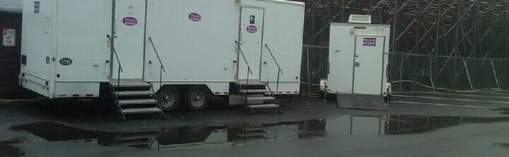 Restroom trailers behind bleachers or wherever you need them.