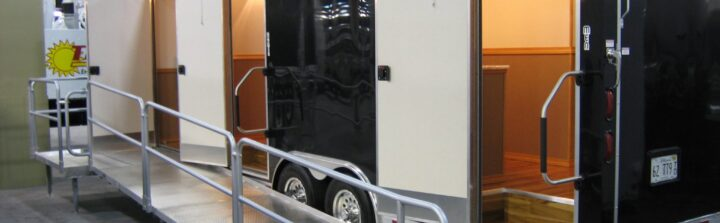 Restroom trailers provide sanitation and luxury.
