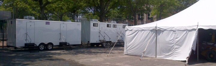A toilet trailer rental can be placed anywhere.