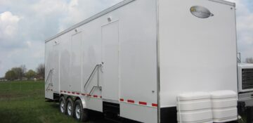 8 shower station trailer includes 2 ADA compliant showers.