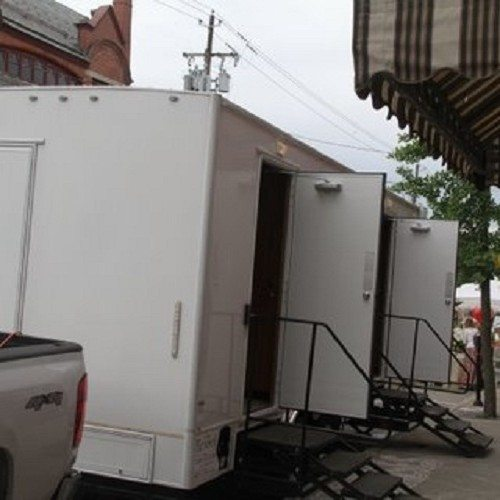 Two room, 8 station trailer for men and women.