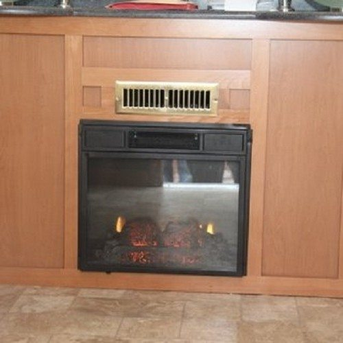 The electric fireplace provides warmth and added luxury.