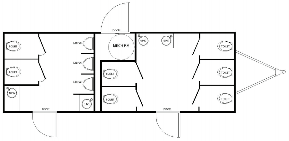 Floor Plan of 10 station restroom with sink and toilet