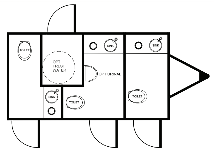 Floor Plan of 3 station restroom with sink and toilet
