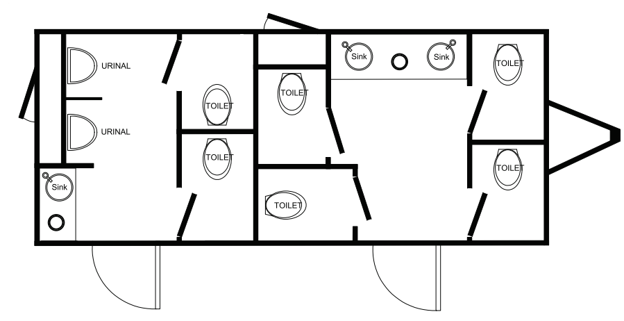 Floor Plan of 8 station restroom with sink and toilet