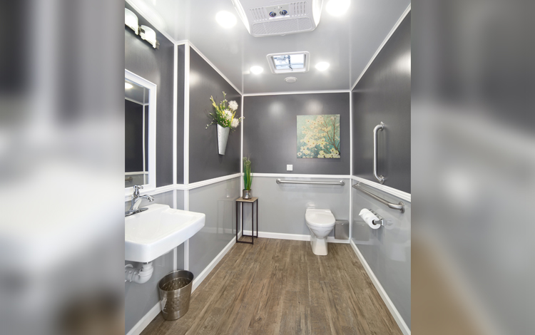 Inside view of ADA+2 in gray with one sink, stall and interior decorations