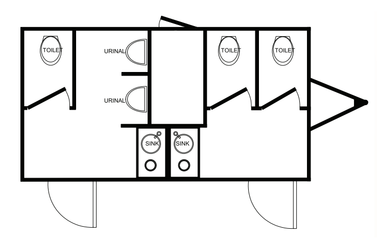 Floor Plan of 5 station restroom with sink and toilet