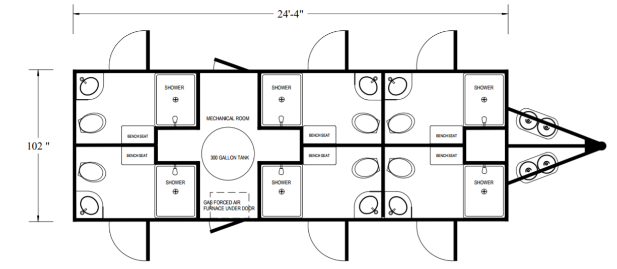 Floor Plan of 6 station restroom shower combo trailer