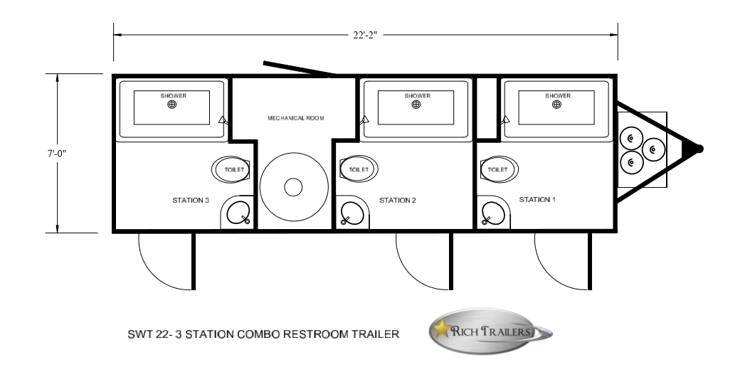Floor Plan of 3 station restroom shower combination
