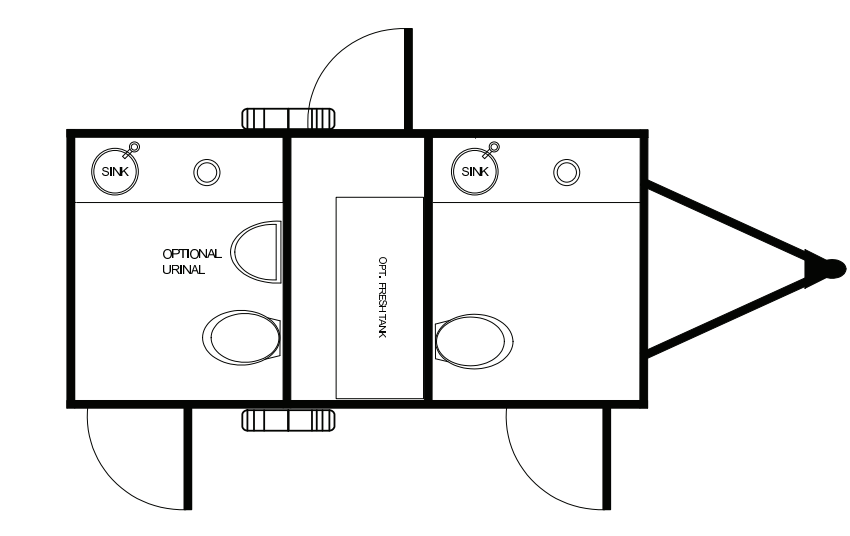 Floor Plan of 2 station restroom with sink and toilet