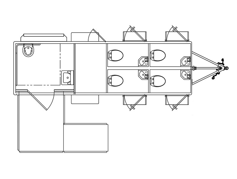 Floor plan of ADA plus 4 trailer