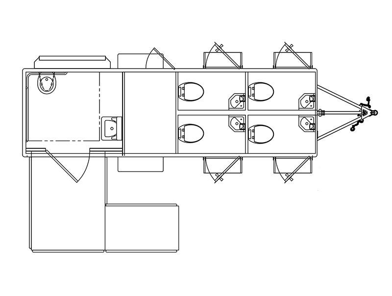 Floor plan of ADA plus 4 trailer