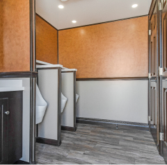 Interior of mobile restroom and shower trailer in NY and NJ
